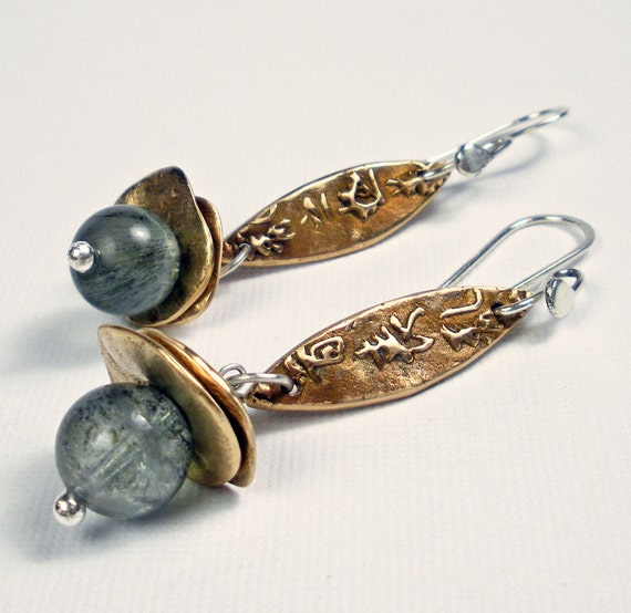 Bronze Dangle Earrings - Handmade Bronze and Gemstone Earrings Featuring Bronze Metal Clay, PMC, Moss Aquamarine - Harmony