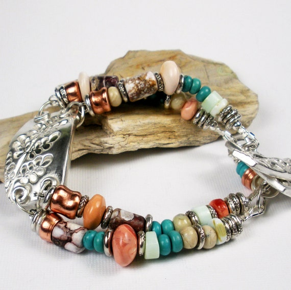 Silver PMC Bracelet, Beaded Bracelet,  Hubei Turquoise, Mexican Fire Opal,  Peruvian and African Opal,  Wild Horse Magnesite - Long Branch