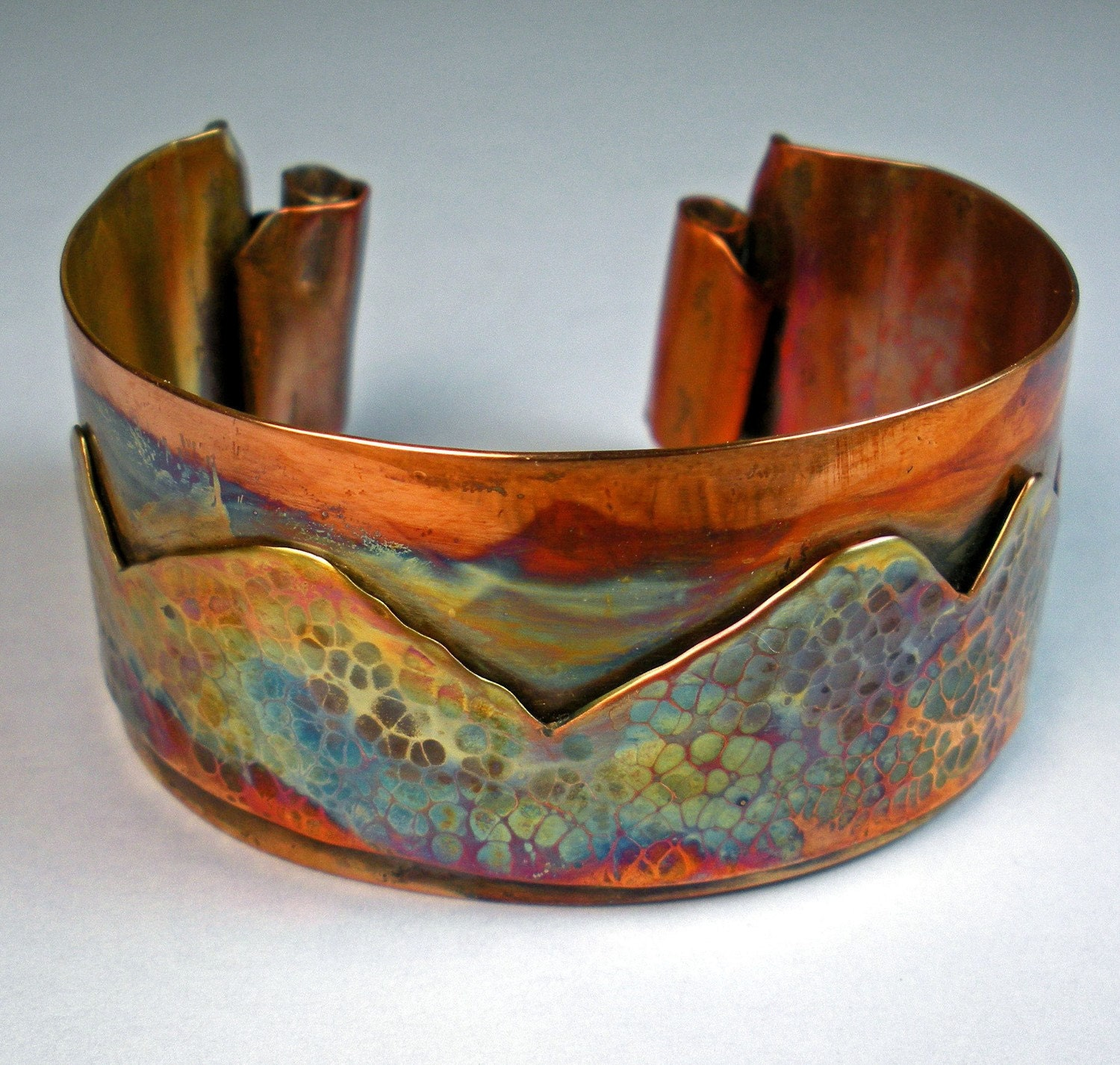 Copper cuff bracelet featuring forged by febrarose