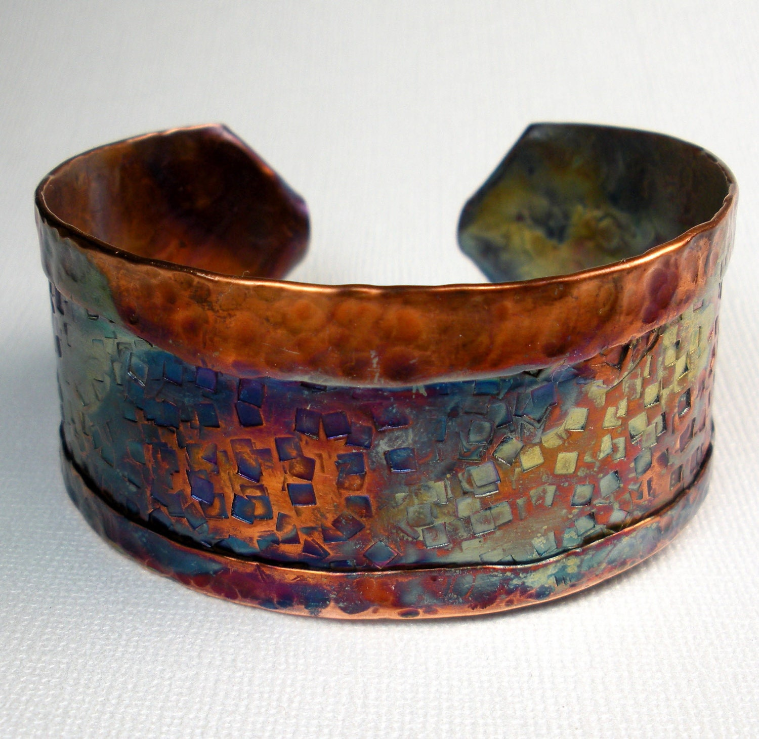 Copper Cuff Bracelet Handmade Rustic Fold Formed And