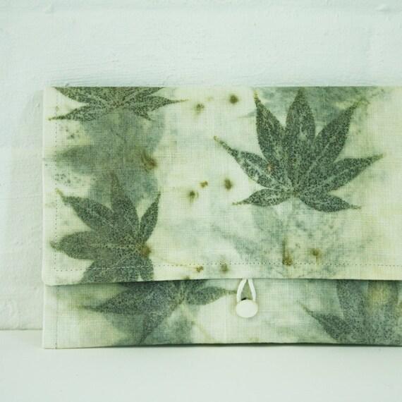 maple eco printed linen envelope clutch