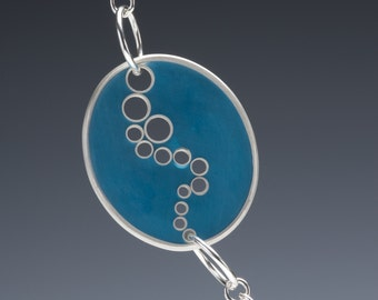 Celestial Season Necklace Turquoise Epoxy Resin and Silver Opera Length Necklace