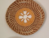 Pine needle basket with fretwork center
