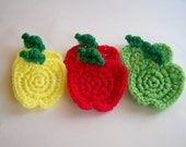 Six Apple Dish Scrubbies in Red, Yellow, and Green