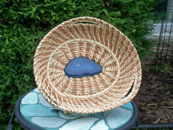 Pine needle basket with blue agate center