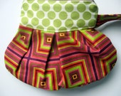 The Pleated Ziplet Geometric Lime Dot made with Amy Butler Fabric