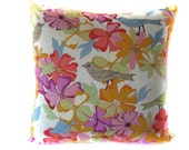 "SALE Floral  Bird Pillow Cover Hues of  Purple Gray and Green - 18"" Square"