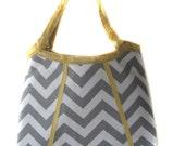 Shoulder Handbag/Tote/Purse - New Design-  Ash Grey  White Chevron Print with Joel Dewberry Woodgrain Vintage Yellow Accent