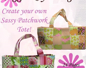 INSTANT DOWNLOAD PDF  Sewing Pattern Sassy Patchwork Tote Create and Sell Product