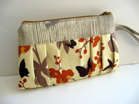 Wristlet Handmade with Joel Dewberry Discontinued Gingseng  Fabric