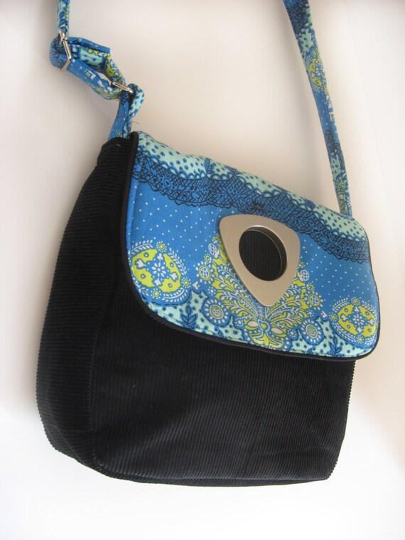 medium handmade handbag with black corduroy fabric - amy butler lark cloud cotton quilt fabric