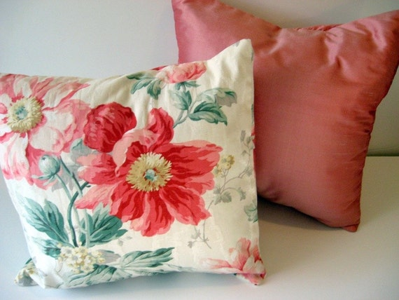 Cushion Pillow Cover SET - Two  16 Inch Square - Silk - Pink Blooms - Flannel Interlining