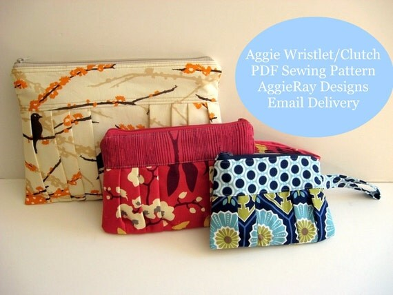 Sale 50% Off PDF Tutorial Sewing Pattern Wristlet Clutch Zipper Pouch:  Aggie Clutch Wristlet 3 Sizes  Create and Sell Product