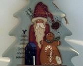 Primitive Christmas Tree Cutting Board-Santa Gingerbread OOAK-Handpainted