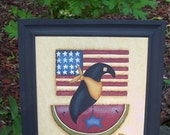Americana Crow Flag Watermelon Framed Canvas Handpainted