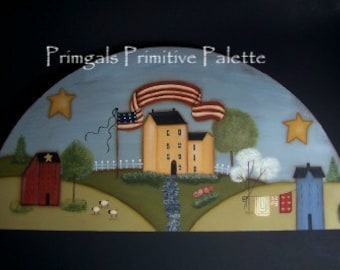 Americana Primitive Flag Saltbox House Door Crown-Shelf Sitter-Handpainted Home Decor