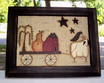 Primitive 5 x 7 Canvas Saltbox House-Sheep-Pear-Crow-Stars-Framed Art