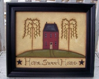 Primitive Saltbox House Willow Tree Canvas Framed-Handpainted