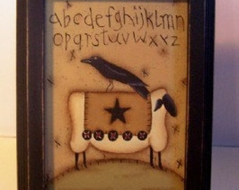 Sheep Crow Canvas Painting Framed Primitive-Handpainted