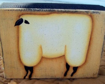 Primitive Handpainted Wood Sheep Shelf Sitter Block