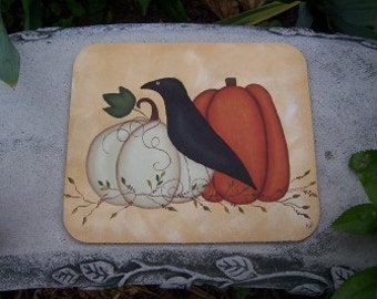 Primitive Crow and Pumpkin Fall Mousepad Office Home Decor