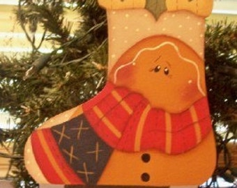 Gingerbread Skate Ornament-Handpainted