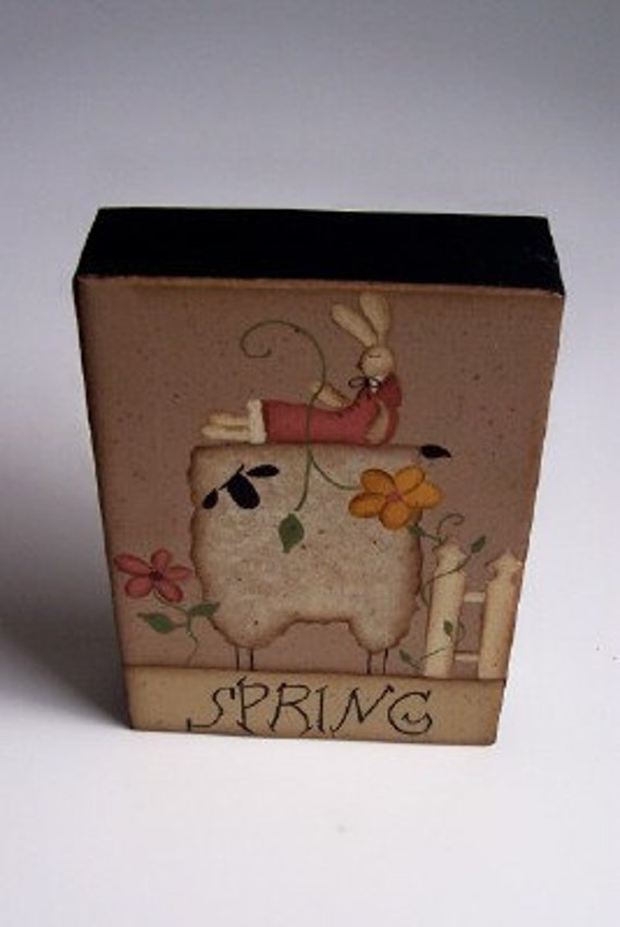 Primitive Spring Bunny-Sheep Shelf Sitter
