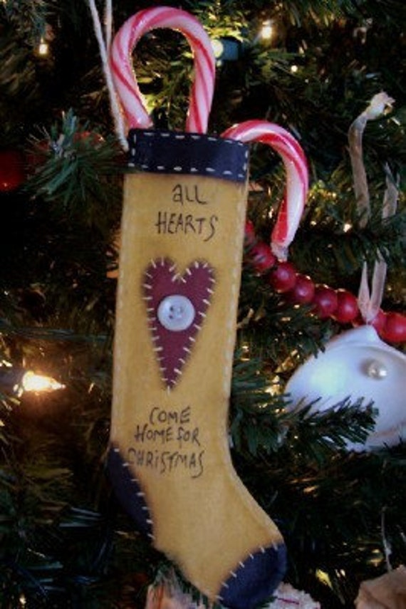 Stocking Ornament Heart Handpainted Christmas Tree Primitive Home Decor