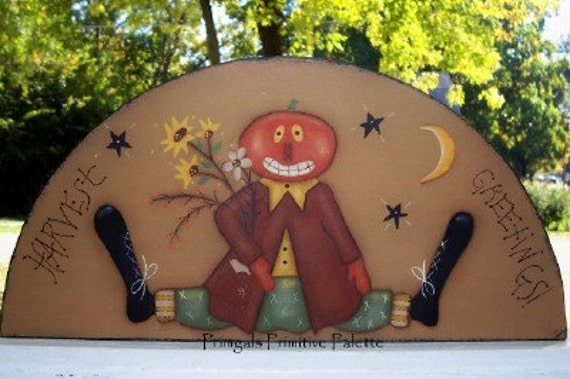 Fall Pumpkin Wood Door Crown Shelf Sitter Primitive Handpainted Art Home Decor