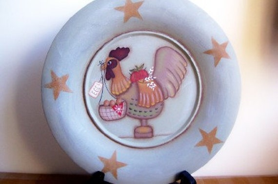 Rooster Plate Wood Primitive Stars Home Decor Handpainted-OOAK