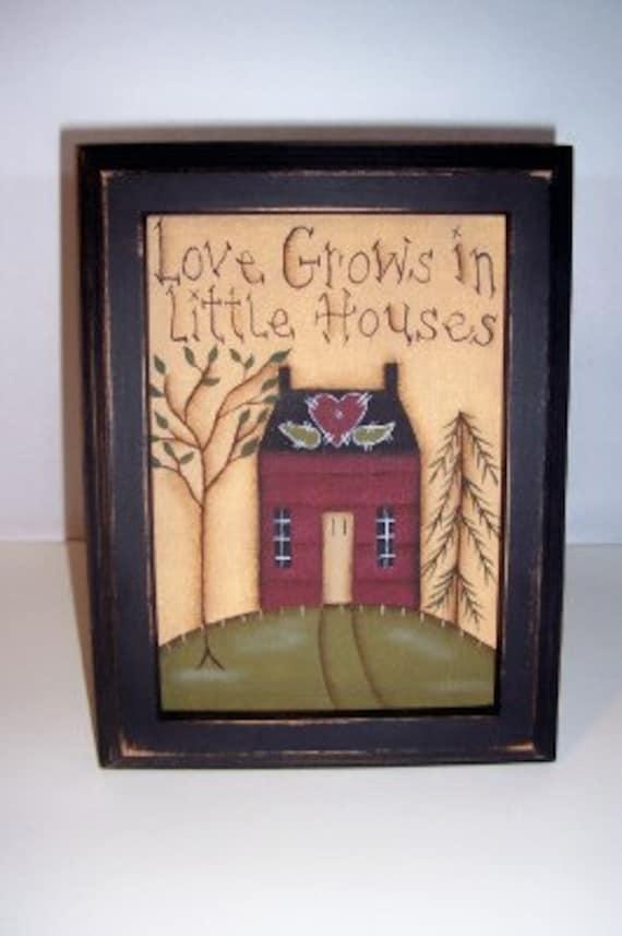 Primitive Saltbox Canvas Hand painted Sampler Home Decor