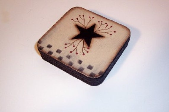 Primitive Star Checkerboard Pipberry Coasters-Handpainted
