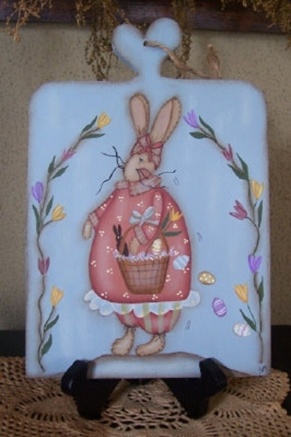 Primitive Spring Easter Bunny Wood Plaque-Handpainted