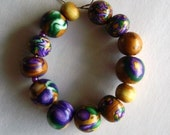 13 Handmade Polymer Clay Beads in Mardi Gras Colors