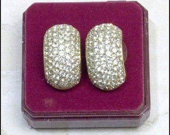 Pretty Paved Rhinestones Pierced Earrings - lots of Dazzle