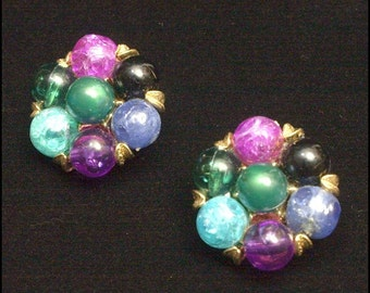 Kramer signed Vintage Multi-color Bead Cluster Earrings
