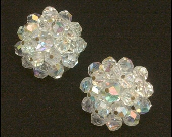 Crystal AB Laguna signed Vintage Clip on Earrings Exquisite