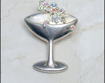 "Champagne Goblet - Signed ""BEST"" Combination Brooch and Pendant"