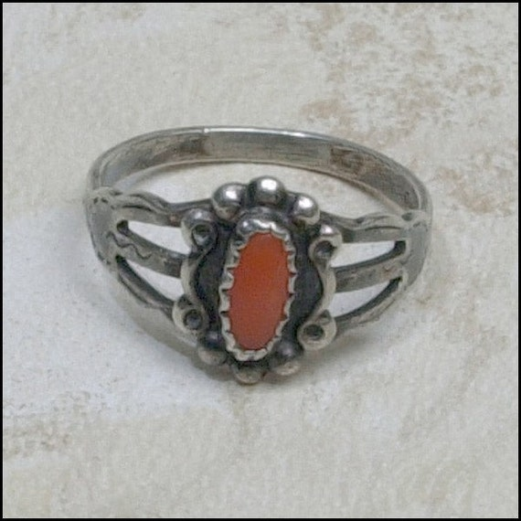 Native American Silver and Red Coral Ring  SIZE 5 1/2