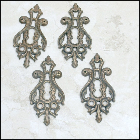Group of Four  Heavy  Keyhole Key Hole Antiqued Brass Metal Findings for Altered Art,  Scrap Booking  or Whatever