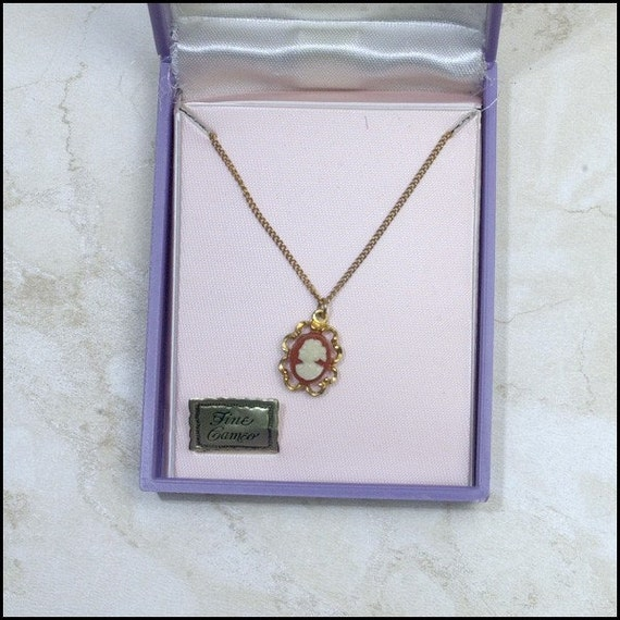 Vintage Cameo Pendant on Fine Chain  Mint in Box   SALE