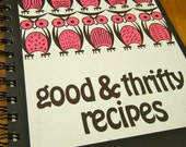 """Vintage Cookbook """"Good and Thrifty Recipes"""" Owl Journal"""