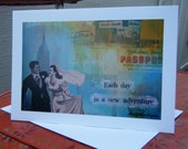 Each day is a new adventure - wedding card or thank you card for travel themed wedding
