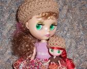 Blythe Camel Nubby Lace Knit Hat