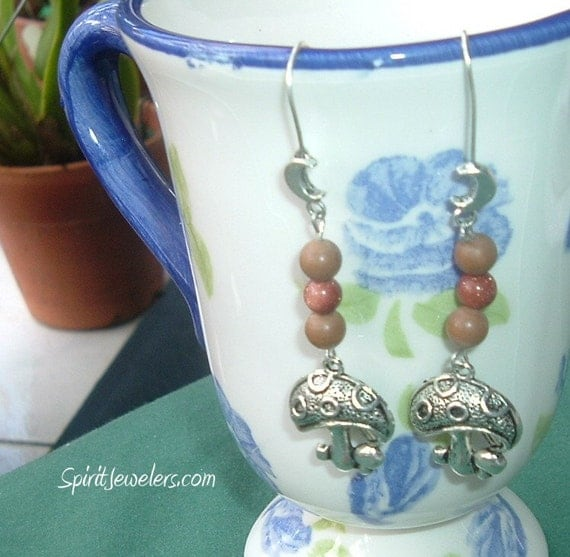 WALK INTO MY MAGICKAL FOREST WITH ME - Magic Mushroom Earrings - Reiki Infused Goldstone and Wood