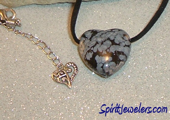 Peaceful Centering Necklace - Reiki Infused Snowflake Obsidian Heart Tribal Focal - 3643