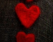 Set Of Three Hand Felted Cherry Red Hearts x3 and 3 sizes
