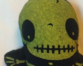 Keith Skeleton Skull Plush Black and Lime Toy Stuffed Doll with Rattle