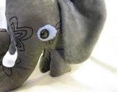 Stuffed Asian Elephant Grey Toy