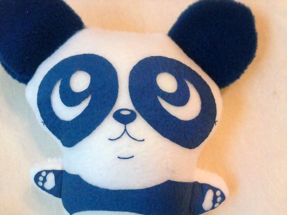 Silkscreen Panda Bear Blue White Stuffed Plush Animal Screen Print